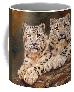 Snow Leopards Coffee Mug by David Stribbling
