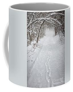 Snowy Winter Path In Forest Coffee Mug