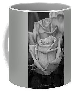 Tea Roses In Black And White Coffee Mug by Jeanette C Landstrom