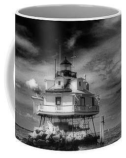 Thomas Point Shoal Lighthouse Black And White Coffee Mug