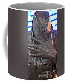 Coffee Mug featuring the photograph Tin Man In Times Square by Lilliana Mendez