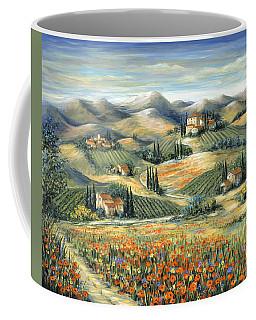 Tuscan Villa And Poppies Coffee Mug