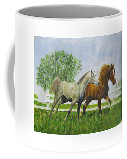 Two Horses Running By White Picket Fence Coffee Mug