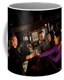 Two Men And Two Women Having Beer Coffee Mug