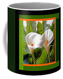 2 White Lily Flowers Coffee Mug