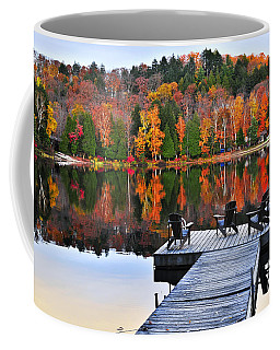 Wooden Dock On Autumn Lake Coffee Mug