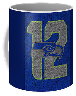 Coffee Mug featuring the drawing 2014 Seahawks Roster Mosaic by Paul Van Scott
