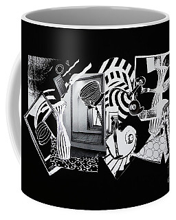 Coffee Mug featuring the mixed media 2d Elements In Black And White by Xueling Zou