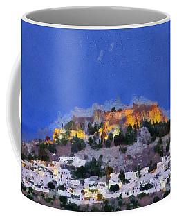 Acropolis And Village Of Lindos Coffee Mug