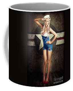American Fashion Model In Military Pin-up Style Coffee Mug