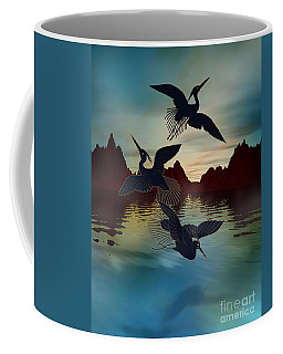 3 Black Herons At Sunset Coffee Mug
