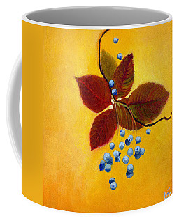 Coffee Mug featuring the painting Blue On Yellow by Katherine Miller