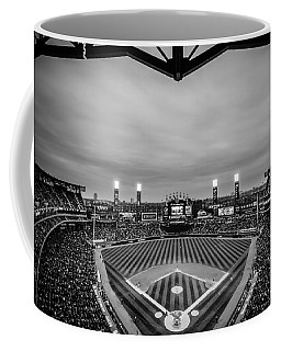 Comiskey Park Night Game - Black And White Coffee Mug