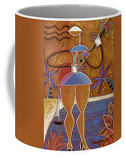 Coffee Mug featuring the painting Cuatro Caliente by Oscar Ortiz