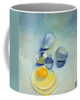 Coffee Mug featuring the painting 3 Eggs On Blue by Katherine Miller