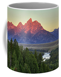 Coffee Mug featuring the photograph Grand Tetons Morning At The Snake River Overview - 2 by Alan Vance Ley