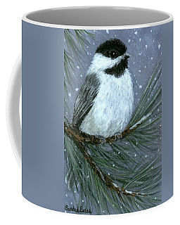 Coffee Mug featuring the painting Let It Snow Chickadee by Sandra Estes
