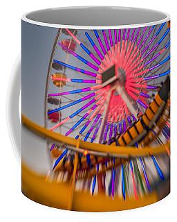 Santa Monica Pier Ferris Wheel And Roller Coaster At Dusk Coffee Mug