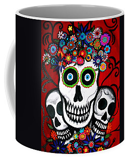 Coffee Mug featuring the painting 3 Skulls by Pristine Cartera Turkus