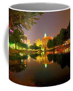 Coffee Mug featuring the photograph Skyline Of Uptown Charlotte North Carolina At Night by Alex Grichenko