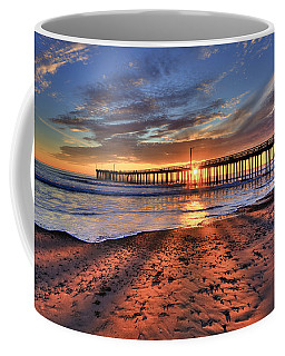 Coffee Mug featuring the photograph Sunrays Through The Pier by Beth Sargent