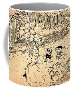 Coffee Mug featuring the drawing Tammy  Meets Cedric The Mongoose by Reynold Jay