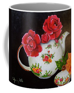 Coffee Mug featuring the painting Teapot And Roses by Jenny Lee