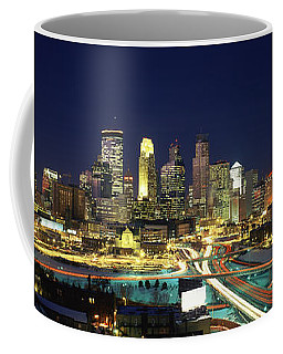Buildings Lit Up At Night In A City Coffee Mug
