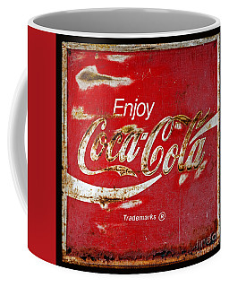 Coca Cola Vintage Rusty Sign Black Border Coffee Mug by John Stephens
