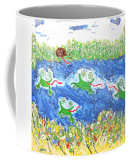 4 Frogs And A Bear Coffee Mug