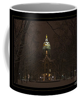 Notre Dame Golden Dome Snow Poster Coffee Mug by John Stephens