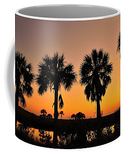 Coffee Mug featuring the photograph 4 Palms In After Glow by Richard Zentner