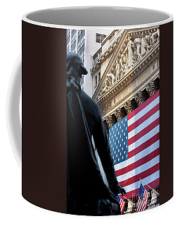 Coffee Mug featuring the photograph Wall Street Flag by Brian Jannsen