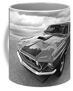 428 Cobra Jet Mach1 Ford Mustang 1969 In Black And White Coffee Mug
