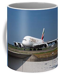Emirates Airbus A380 Coffee Mug by Paul Fearn