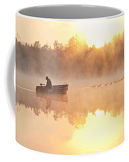 Sunrise In Fog Lake Cassidy With Fisherman In Small Fishing Boat Coffee Mug