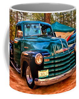 '51 Chevy Pickup With Teardrop Trailer Coffee Mug by Michael Pickett
