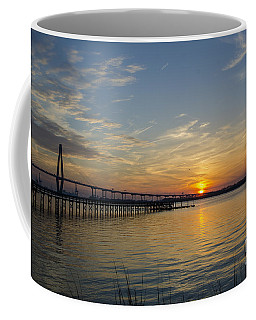 Coffee Mug featuring the photograph Arthur Ravenel Bridge Tranquil Sunset by Dale Powell