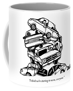 6 Cars Pile On Top Of One Another Coffee Mug