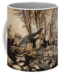 A Band Of Workmen, Who Were Sawing Down A Toadstool, Rushed Away, Leaving Their Tools Coffee Mug