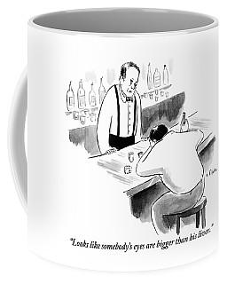 A Bartender Speaks To A Man Who Is Sitting Coffee Mug