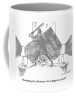 A Baseball Player About To Take A Swing Stands Coffee Mug
