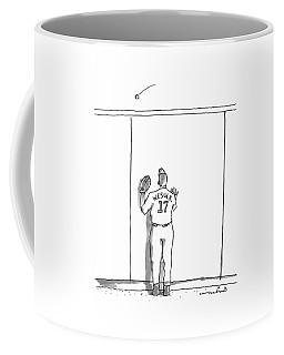A Baseball Player Watches A Ball Fly Over A Wall Coffee Mug