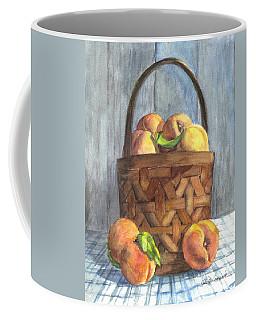 Coffee Mug featuring the painting A Basket Of Peaches by Carol Wisniewski