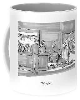 A Bearded, Long-haired Man Wearing Rags Crawls Coffee Mug