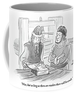 A Bearded Wise Man Looks Over A Book Coffee Mug
