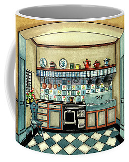 A Blue Kitchen With A Tiled Floor Coffee Mug