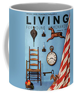 A Blue Wall With Decorations Coffee Mug