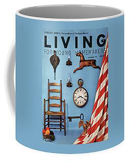 A Blue Wall With Decorations Coffee Mug