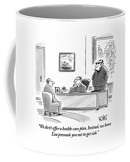 A Boss In His Office Discusses Health Care Coffee Mug